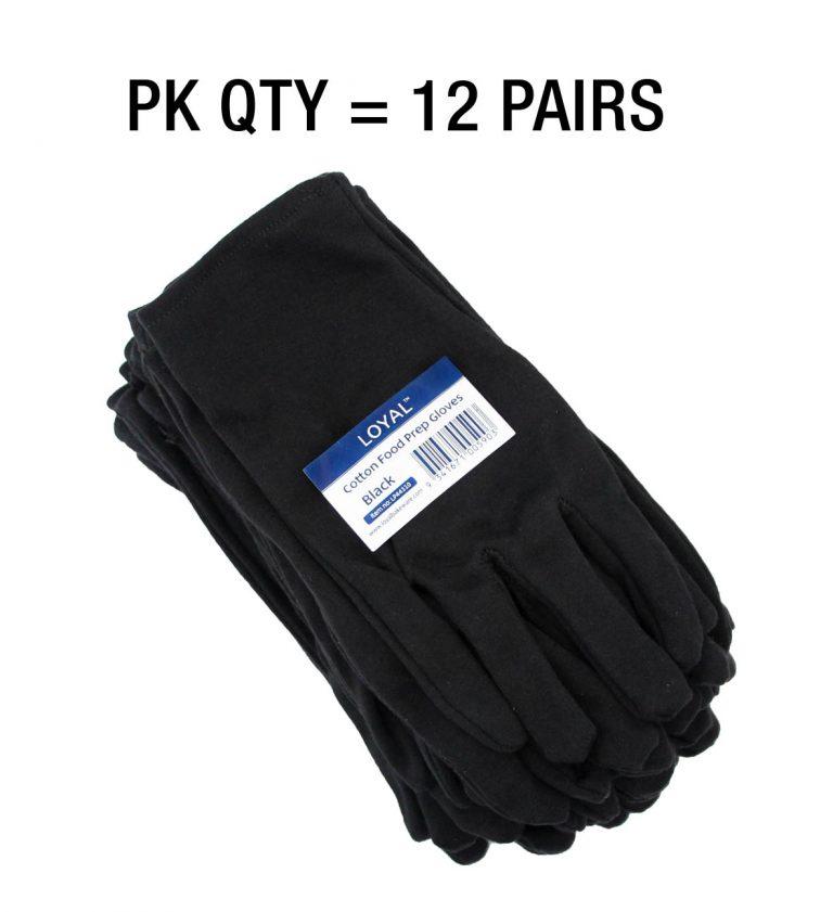 Black Cotton Food Prep Gloves