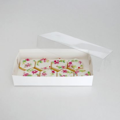 CLEAR LID BISCUIT BOX RECTANGLE 9x4.5x1.5in